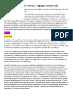 Organización Curricular Lenguaje y Comunicación