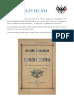 Résumé Historique de l'Organisation Et Des Travaux Du Suprême Conseil Du Rite Écossais Ancien Et Accepté Pour La France Et Ses Dépendances