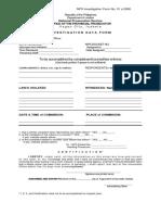 ATTY F. NPS Investigation Form No