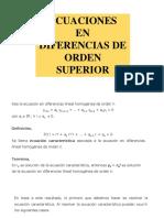 Ecuaciones en Diferencias de Orden Superior