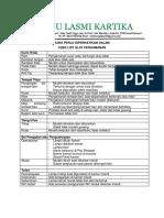 Checklist Alat Pengaman Lasmi