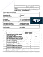 Chemical Supplier Evaluation Format