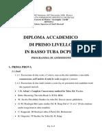 Basso Tuba Programma Ammissione Triennio