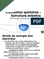 Elementos químicos - Estrutura atómica - Distribuição electrónica por níveis de energia