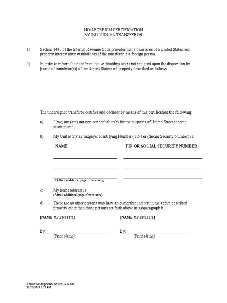 document firpta affidavit