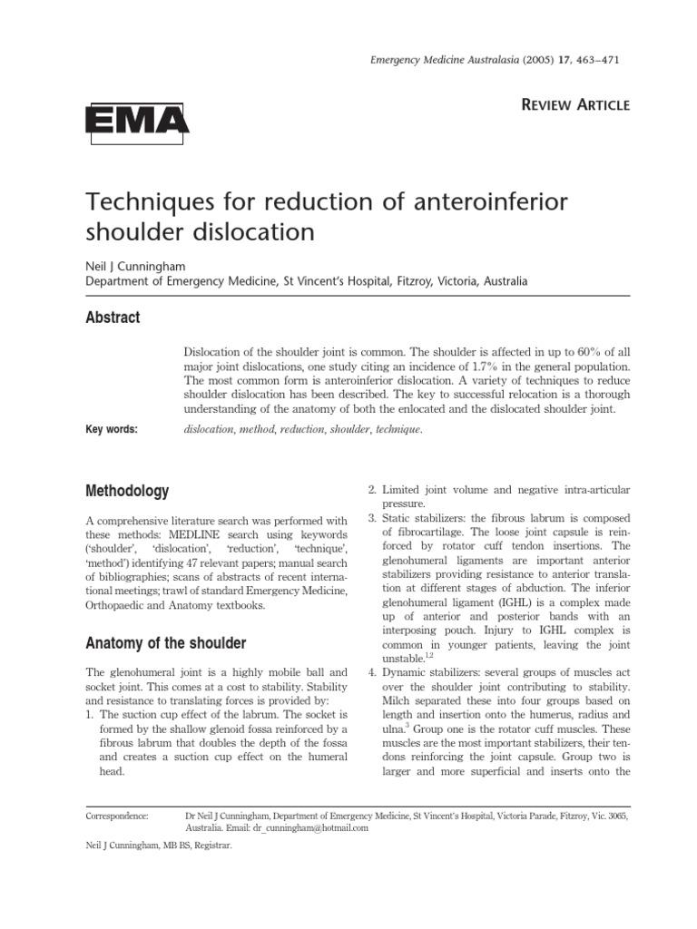 Shoulder Dislocation Techniques | Anatomical Terms Of Motion | Shoulder