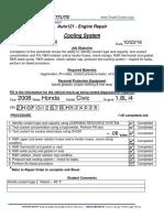 Coolant job sheet