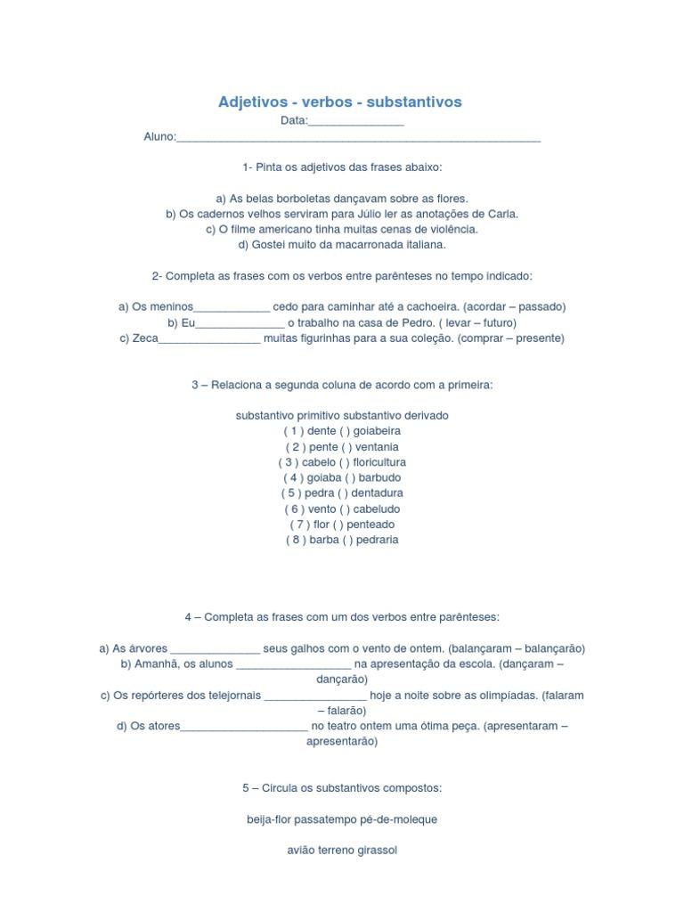 Adjetivi Verbo E Substantivo