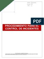 Procedimiento Para El Control de Incidentes