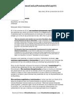 Carta enviada al Presidente de la República con relación a convocatoria de proyectos de pensiones de lujo