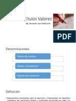 TÍTULOS VALORES. GENERALIDADES