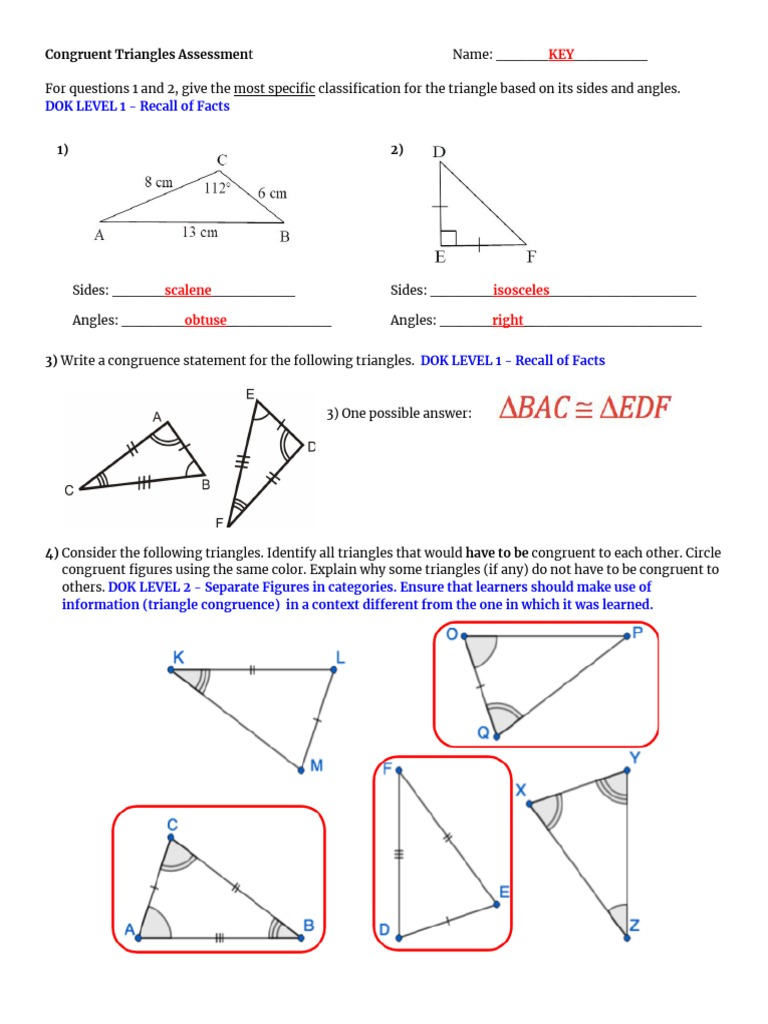 Congruent Triangles Unit Assessment Answer Key With Dok Levels Regarding Congruent Triangles Worksheet With Answer