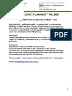 K1000 Depot Flashbutt Welder for Hire 2016