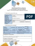 Guía de actividades y rúbrica de evaluación - Tarea 2 - El rol del psicólogo en diferentes contextos (4).docx