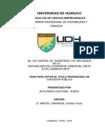 INFORME FINAL EL CONTROL DE INVENTARIO Y SU INFLUENCIA EN LA RENTABILIDAD COMERCIAL URETA E.I.R.L
