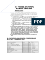 Guide to Excel Statistical Functions, Routines and Tools