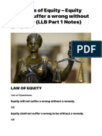 Principles of Equity - Equity will not suffer a wrong without a remedy (LLB Part 1 Notes) | Universal Affairs