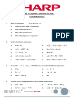 Worksheet 16 Algebraic Expressions Fro Term 3 Grade 10 Mathematics