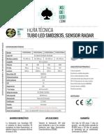 Tubo de Led Radar - Smd2835 - Tut8-St2-Rals