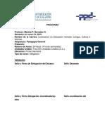 Programa de Pedagogía general (PPD, Fac. Humanidades, ULA-Venezuela)