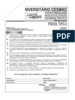 Cesmac-prova e Gabarito 1ºdia Tipo2 Medicina Cesmac 2017.2