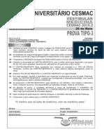 Cesmac-prova e Gabarito 1ºdia Tipo3 Medicina Cesmac 2016.2