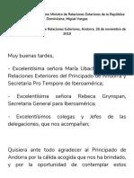 Discurso Canciller Miguel Vargas en Reunión de Ministros de Relaciones Exteriores, Andorra