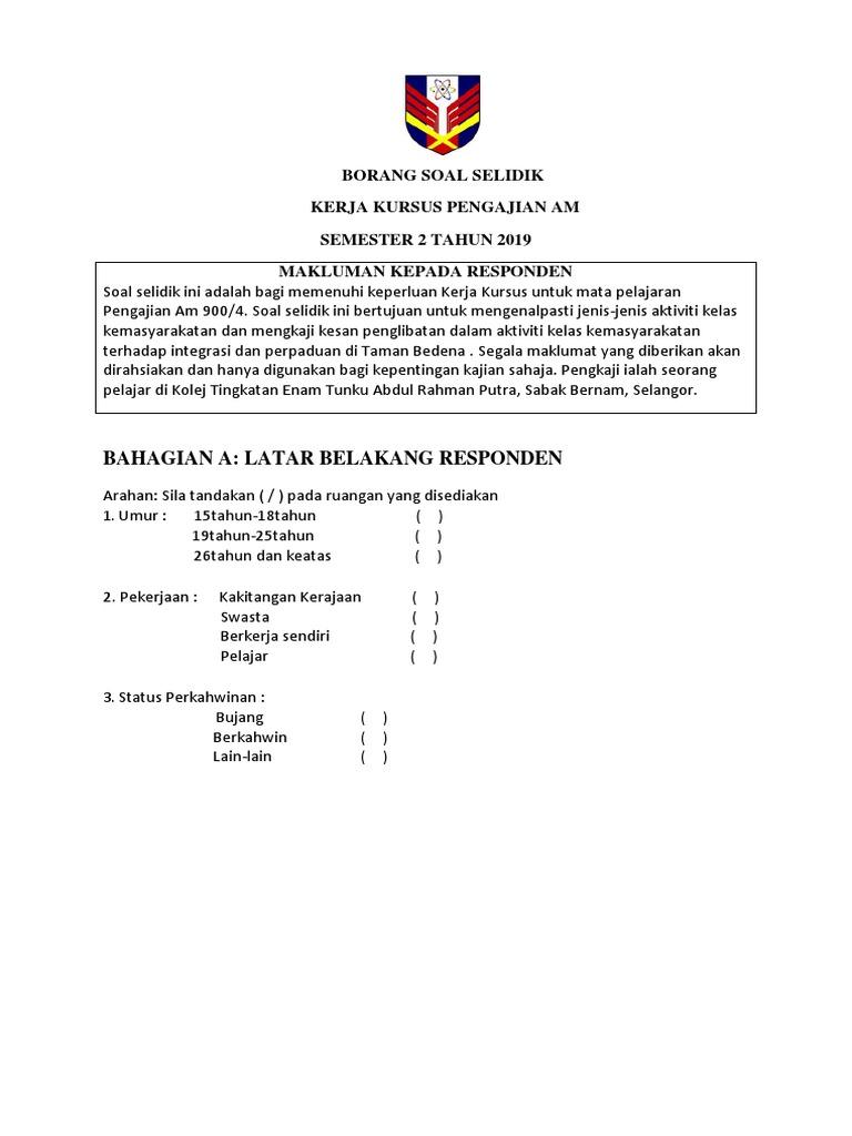 Borang Soal Selidik Pam Done Docx