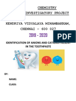 CHEMISTRY INVESTIGATORY PROJECT CLASS 12 - TOOTHPASTE