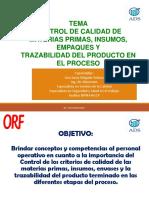 Control de Aseguramiento de Calidad de Materias Primas e Insumos