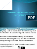 The Role of Interpretation in the Study of Learners
