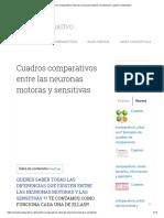Las Neuronas Motoras y Sensitivas _ Cuadro Comparativo