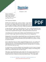 Sanders MLB Letter