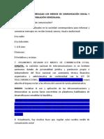 Organismos Que Regulan Los Medios de Comunicación en Venezuela