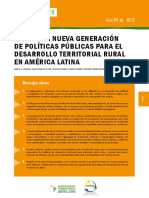 HAcia una nueva generación de políticas públicas para el desarrollo territoria rural en América Latina