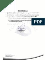 """Comunicado 04 LP N°012-2019-FSM/CSEE """"Producción de Pastos y Mejoramiento de la Ganadería Lechera en el Sector Quinuamayo Alto..."""""""