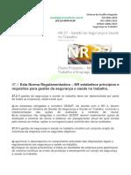 NR-37 Gestão de Segurança e Saúde No Trabalho