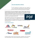 Flota Aérea Disponible en Bolivia