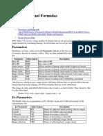 Parameters and Formulas