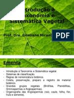 Aula Introdução à Taxonomia e Sistemática Vegetal
