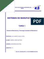 TAREA 1 Sistema de Manufactura y Tecnología Avanzada de Manufactura