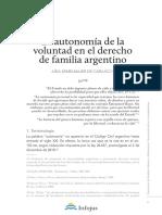 Kemelmajer de Carlucci, La Autonomía de La Voluntad en El Derecho de Familia Argentino