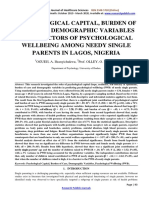 Psychological Capital, Burden Of Care & Demographic Variables As Predictors of Psychological a Wellbeing Among Needy Single Parents In Lagos Nigeria.