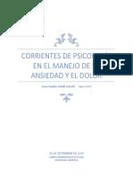 CORRIENTES PSICOLOGICAS EN EL MANEJO DE LA ANSIEDAD Y EL DOLOR