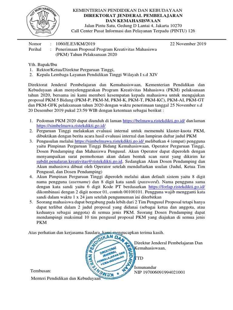 PKM 20 Pengumuman Penerimaan Proposal PDF   PDF