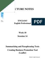 LN-Summarizing and Paraphrasing Texts