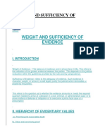 Weight and Sufficiency of Evidence (Quantum of Evidence)