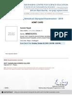 RMO 2019 AdmitCard Sumeet Nayak