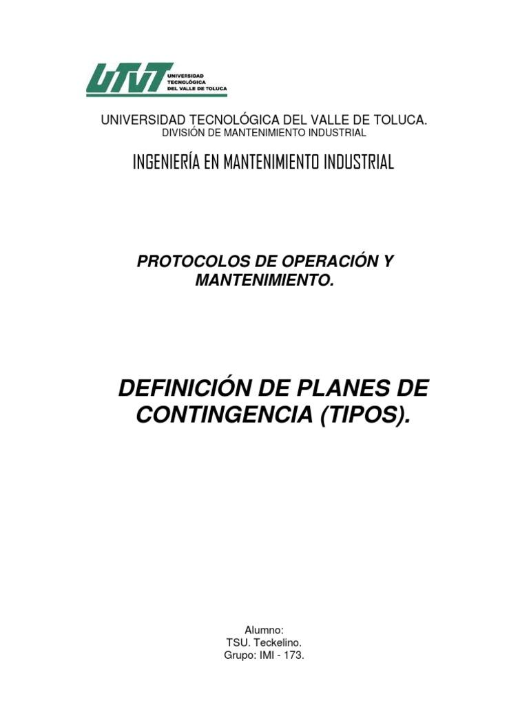 Definición de planes de contingencia (tipos)