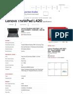 Lenovo ThinkPad L420 Specs